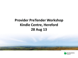 Provider PreTender workshop presentation