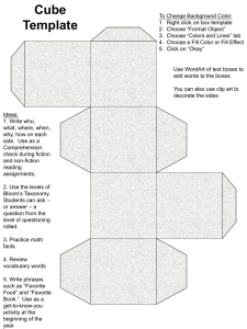 Cube Template - For the Teachers