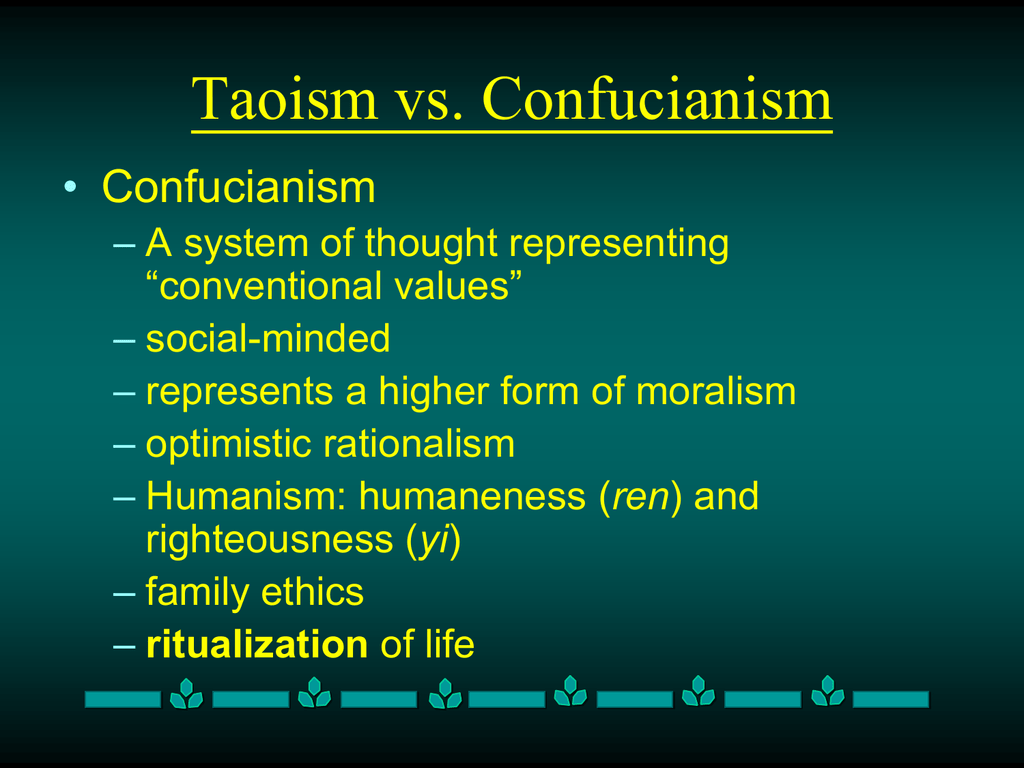 an analysis of the difference between confucianism and taoism Main difference between taoism and confucianism essay citizenship and youth culture essay introductions haydn cello concerto d analysis essay la teigne renaud.