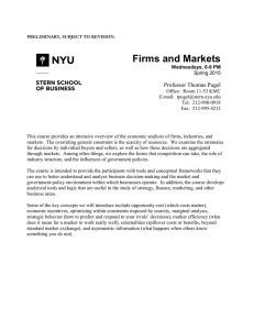 Firms and Markets - NYU Stern School of Business