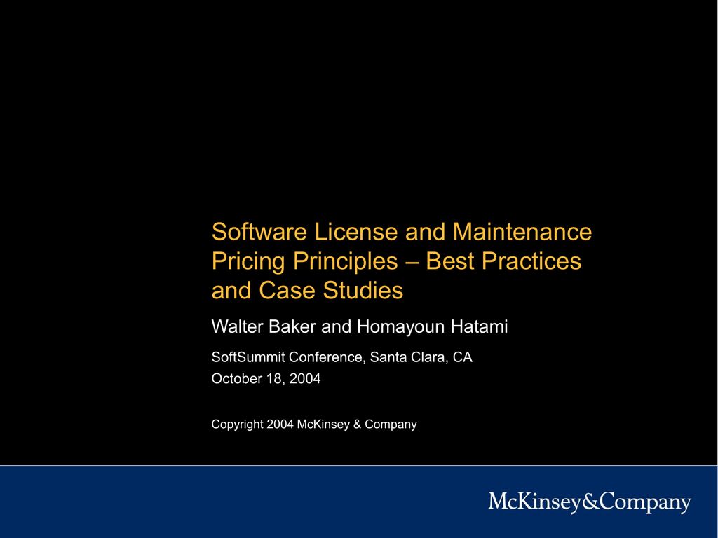 Software License and Maintenance Pricing Principles