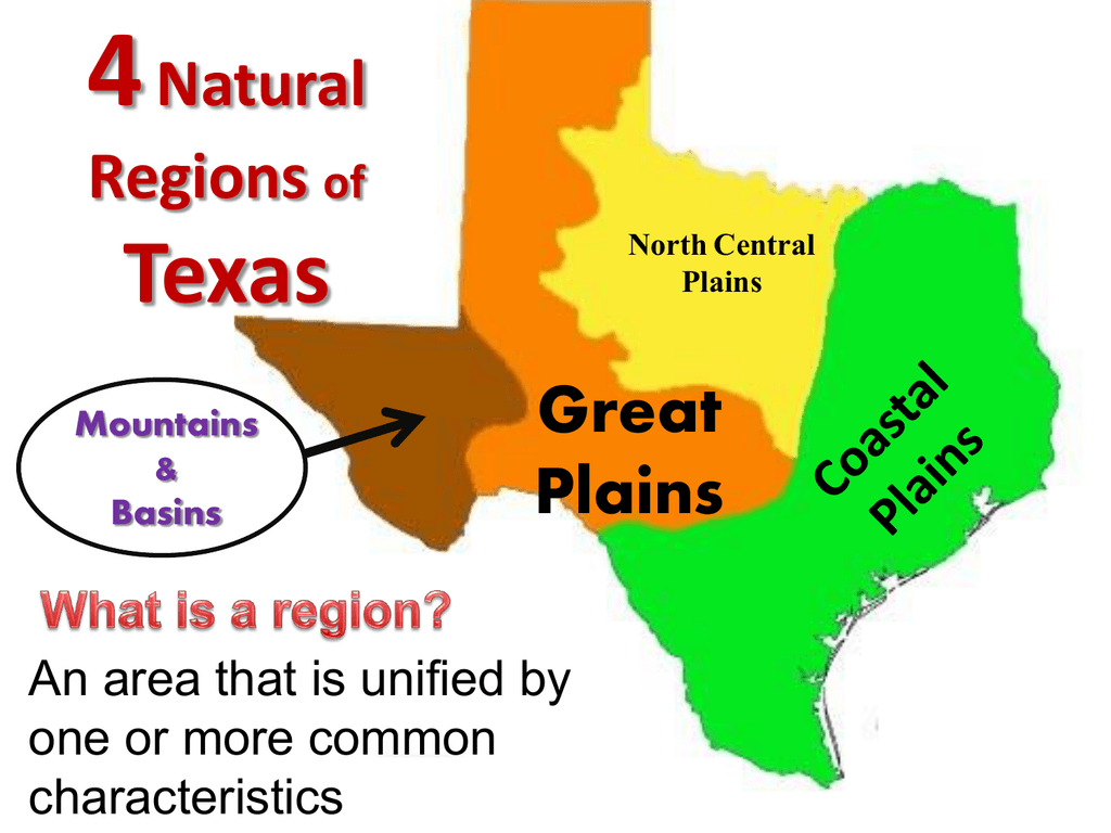 Map Of Texas 4 Regions.4 Natural Regions Of Texas Coastal Plains