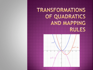 Transformation s of QUADRATICS AND mapping rules