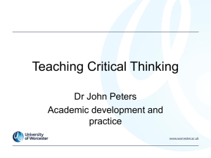 Teaching Critical Thinking