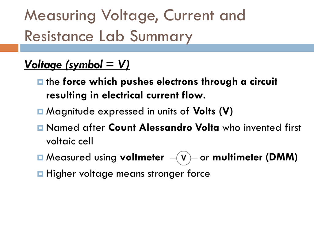 Measuring Voltage Current And Resistance Lab Summary