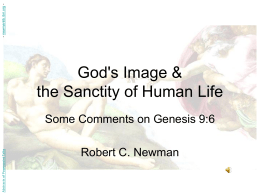God's Image & the Sanctity of Human Life