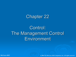 Chapter 22 – Control: The Management Control Environment