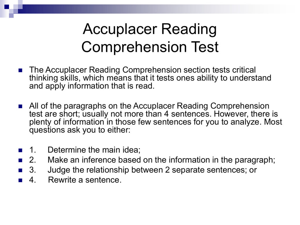 - Accuplacer Reading Comprehension Test