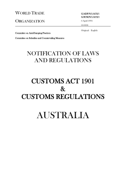 Customs Act 1901 & Customs Regulations