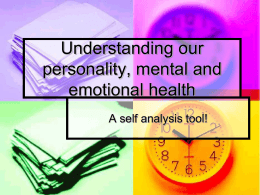 Understanding our Personality