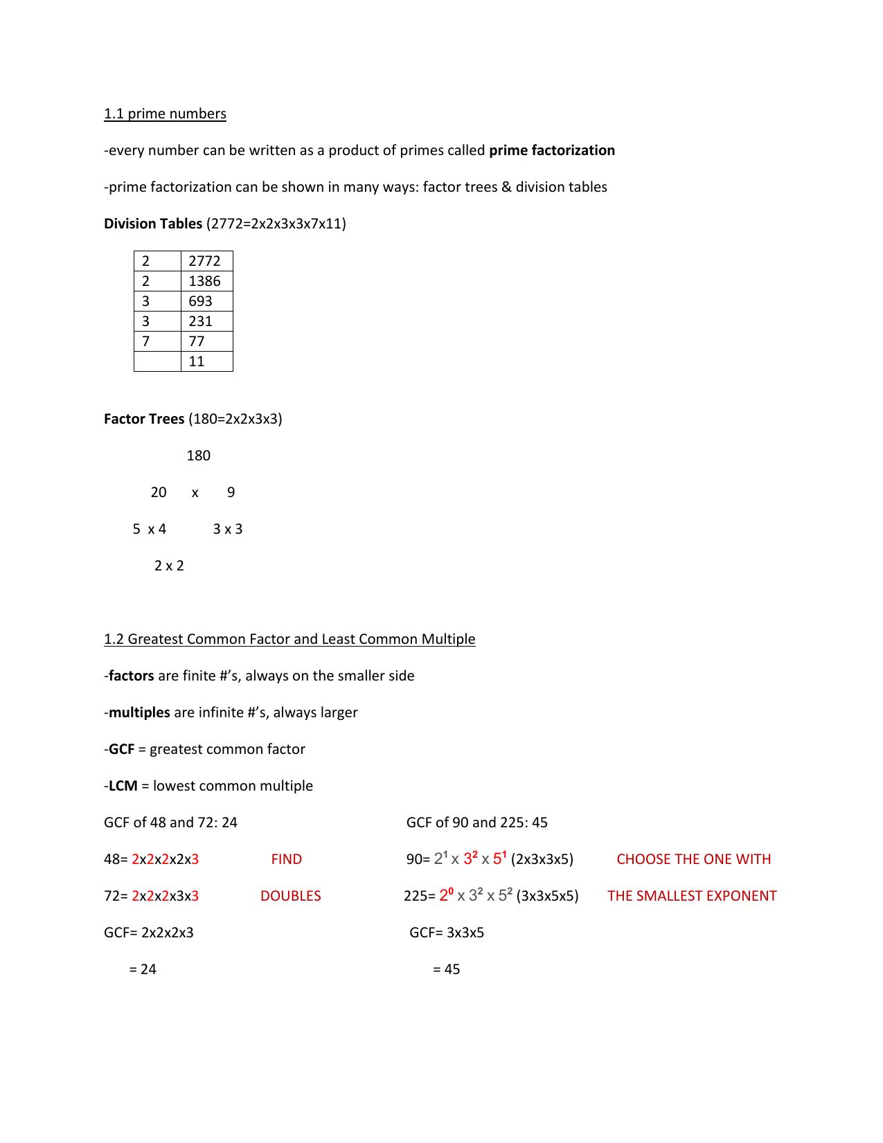 Math 10 Chapter 1 Summary