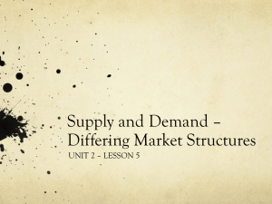 Supply and Demand * Differing Market Structures