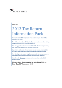 2013 Tax Return Information Pack