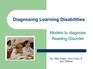 Diagosing Learning Disabilities