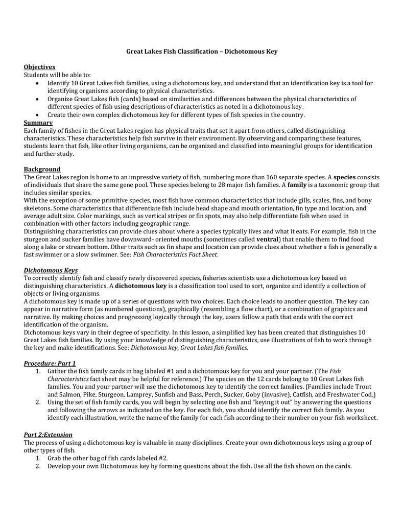 worksheet Fish Dichotomous Key Worksheet Answers great lakes fish classification dichotomous key objectives