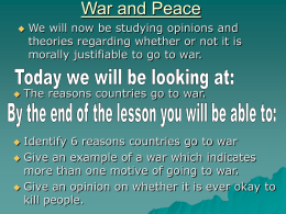 Reasons to go to war