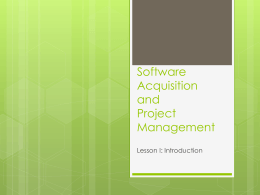 Software Acquisition and Project Management