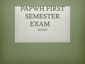 APWH FIRST SEMESTER EXAM
