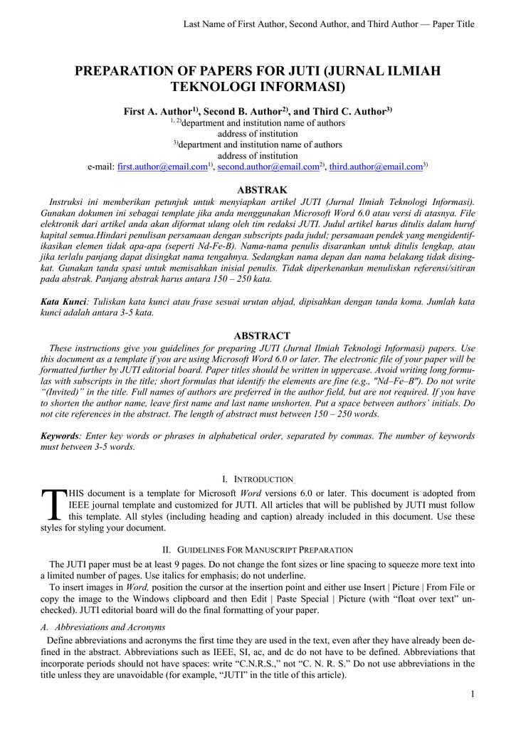 Preparation Of Papers For Juti Jurnal Ilmiah Teknologi
