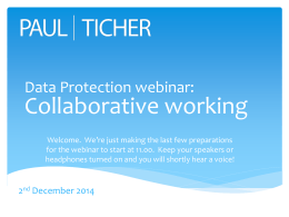 Data Protection webinar: Working with other