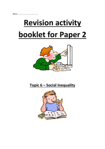Revision Activity Booklet for Social Inequality 2015