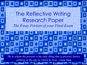 The Reflective Writing Researcher Paper