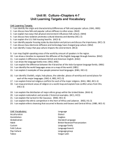 Unit III Learning Targets and Vocabulary