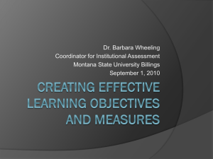 Creating effective learning objectives and measures