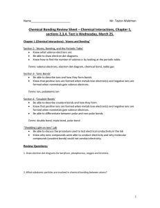 Chemical Bonding Review Sheet – Chemical Interactions, Chapter 1