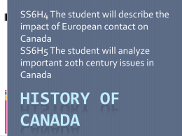 Notes - History of Canada