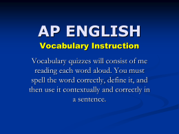 Vocabulary Quiz