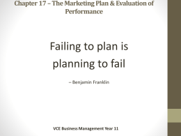 Chapter 17 – The Marketing Plan & Evaluation of Performance
