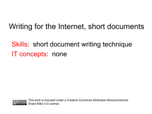 Writing for the Internet, short documents