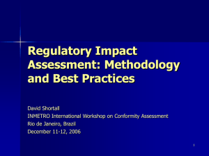 Regulatory Impact Assessment: Methodology and Good