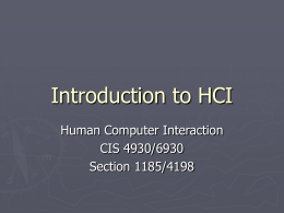 Introduction to HCI - Department of Computer and Information