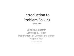 Introduction to Problem Solving Spring 2008