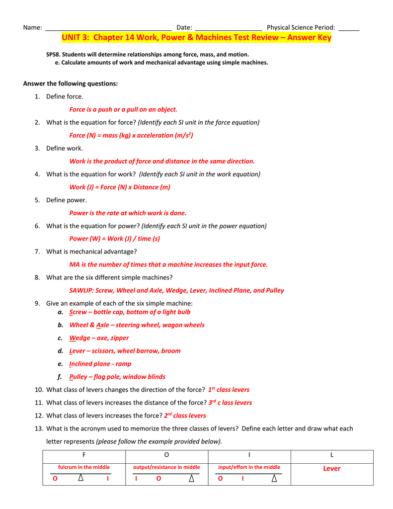 UNIT 3: Chapter 14 Work, Power & Machines Test Review - Answer