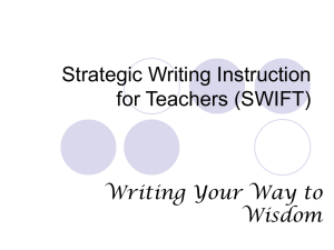 Day One - Strategic Writing Instruction for Teachers