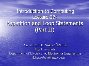 Repetition and Loop Statements (Part II)