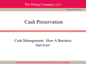 Cash Preservation - The Siburg Company