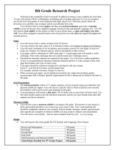 Criteria and format for 8th grade Research Paper