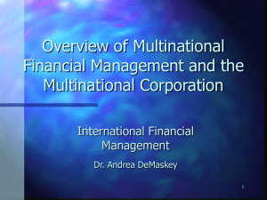 Overview of Multinational Financial Management
