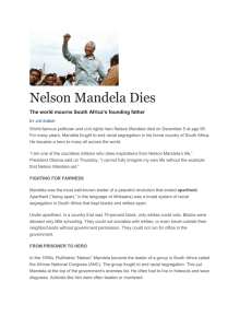 Nelson Mandela Dies The world mourns South Africa's founding