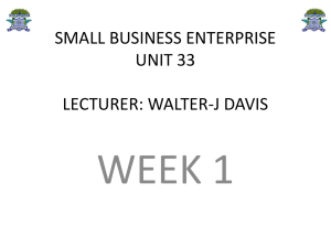 small business enterpriseunit 33lecturer: walter