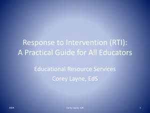 Response to Intervention (RTI) - Educational Resource Services