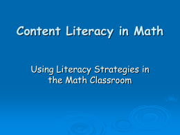 Content Literacy in Math - Literacy-in