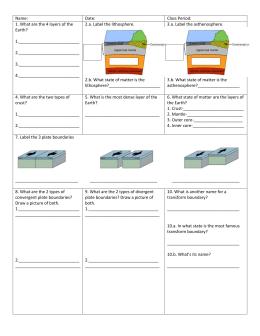 plate tectonics test review sheet ch. Black Bedroom Furniture Sets. Home Design Ideas
