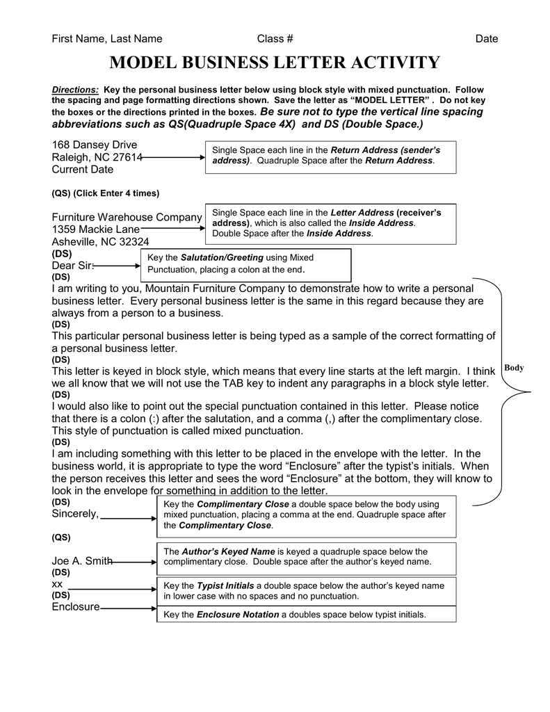 Spacing For Business Letter from s2.studylib.net