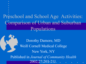 Preschool and School Age Activities: Comparison of Urban and