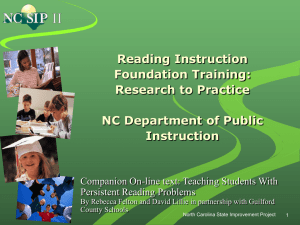 Reading Instruction Foundation Training - NCSIP
